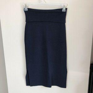 MM Lafleur navy blue Harlem fold over pencil skirt